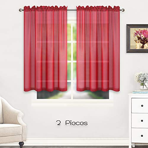 HUTO Rod Pocket Red Sheer Window Panels Curtains for Bedroom Sheer Voile Curtains Drapes 45 inches Long 2 Panels Short Sheer Curtains for Kitchen (Panels Red Voile)