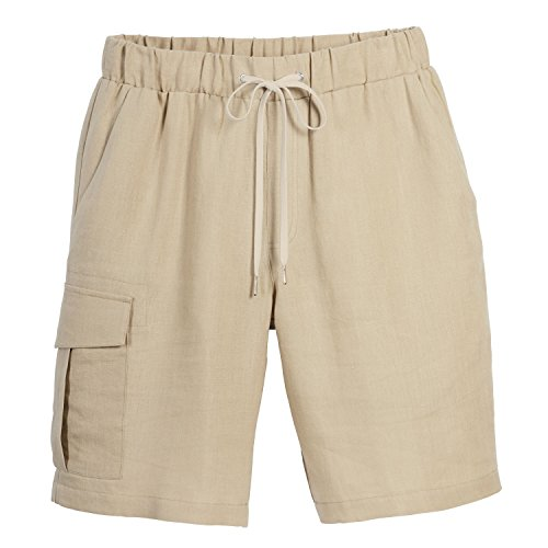 Beachcomber Linen - Beachcombers Men's Linen Cargo Shorts With an Elastic Waistband Neutral Extra Large