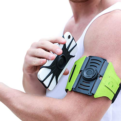 VUP Running Armband [All Screen Friendly, Detachable & 360°Rotatable] for iPhone Xs Max/Xs/XR/8 Plus/7 Plus/6s Plus/6, Galaxy S10 Plus/ S9 Plus/ S8/ A8 Plus, Note 4/5/8/9, Google Pixel 3/2 XL-Green