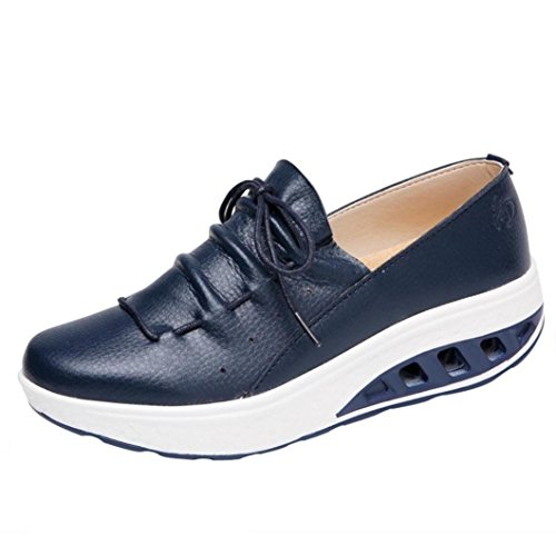 Women Sneakers, Shybuy Women's Air Cushion Athletic Faux Leahter Shoes Lightweight Sport Walking Shoes (5, Blue) by Shybuy women Shoes