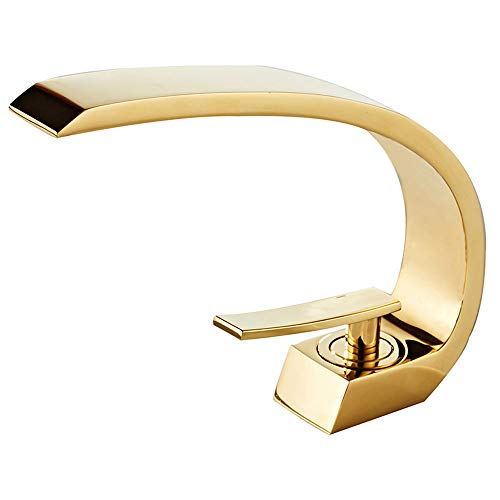 (Wovier Shiny Polished Gold Bathroom Sink Faucet,Single Handle Single Hole Vessel Lavatory Faucet,Basin Mixer Tap,French Gold)