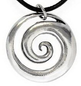 Pixel Jewelry 1985 - SPIRAL SWIRL Silver Pewter Pendant Leather CORD Surfer