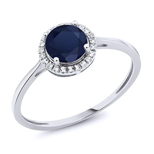 10K White Gold Diamond Engagement Ring Round Blue Sapphire 1.22 cttw (Size 8) -