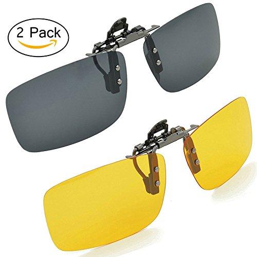 Eoney Polarized Clip on Sunglasses, Metal Flip up Clip Unisex Polarized Frameless Rectangle Sunglasses Lenses Glasses (2Pack) ()