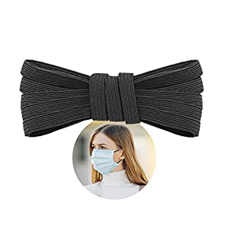 """Elastic Band for Sewing - 1/4"""" (6.5mm) Heavy Stretch Flat Bungee - Arts and Crafts, DIY Face Masks - Knit Braided Cord - Stretchy String for Earloop - 5 Yards (Black), by Adolfo Designs"""