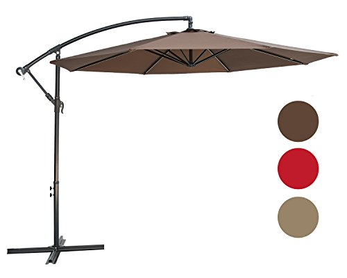 SUNBRANO 10 Ft Cantilever Offset Patio Umbrella Outdoor Aluminum Hanging Umbrella Crank Air Vent, 8 Ribs, Coffee by SUNBRANO
