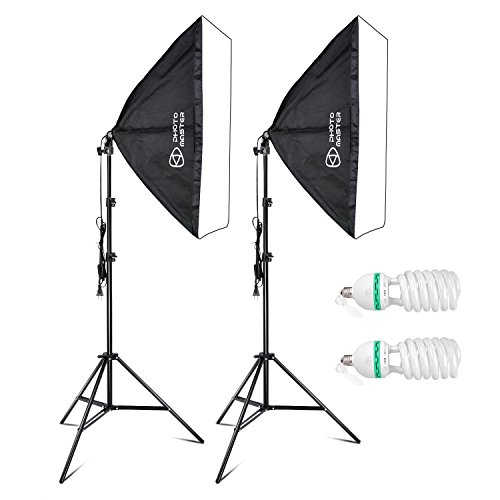 Photo Master 750W Softbox Photography Lighting Kit with 20x28''/50x70cm Softbox 5500K Light Bulbs 1.9m Adjustable Heavy Duty Light Stand and Portable Carry Bag by PHOTO MASTER