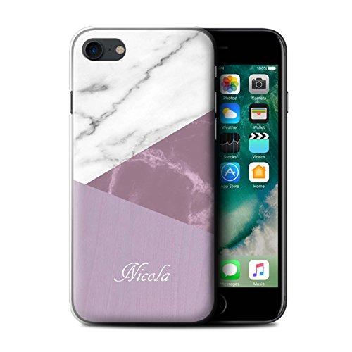 Personnalisé Marbre/Bois Coutume Coque pour Apple iPhone 7 / Géométrique Rose Design / Initiales/Nom/Texte Etui/Housse/Case