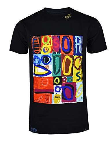 SCREENSHOTBRAND-S11911 Mens Hip-Hop Ultra Premium Tee Longline Street Art Graffiti Print - Black T-shirt Art