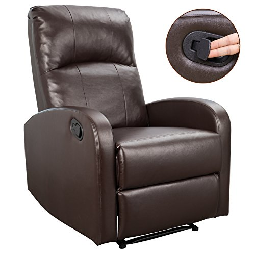 Homall Recliner Chair Padded PU Leather Home Theater Seating Modern Chaise Couch Lounger Sofa Seat (Bright ()