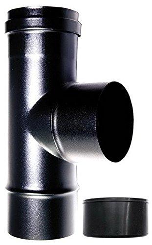 Raccord chaudière à Tee 90° FM-M dN 80mm pour poêle à pellets ou bois Tube Noir Acier Émaillé 600degrés CE Made in Italy MBM