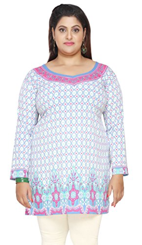 Women's Plus Size Indian Kurtis Tunic Top Printed India Clothes – L…Bust 40 inches, Blue