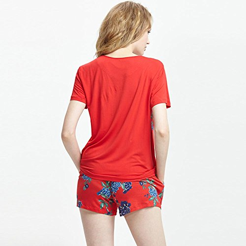 DMMSS Frauen-Pyjama Sommer Kurzarm-Shorts Und Kurze Hosen 2-Teilige Sets Können Verwendet Werden, Zu Hause Kleidung Anzug Tragen