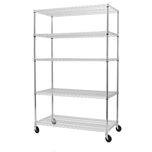 Seville Classics UltraDurable Commercial-Grade 5-Tier Steel Wire Shelving with Wheels, 48 W x 24 D x 72 H, Silver