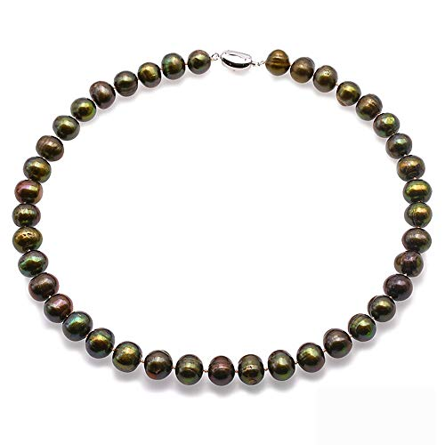JYX Pearl Jewelry 11-12.5mm Round Green Pearl Necklace 18
