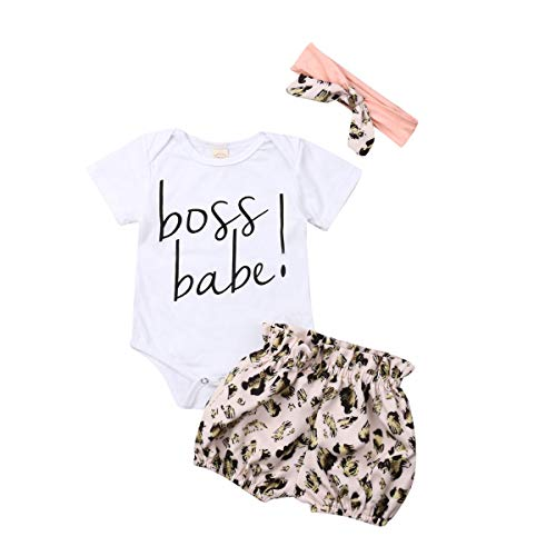 Infant Baby Girl Summer Little Sister Outfit Romper Bloomers Shorts Clothes Set (A-Boss Baby, 3-6 Months)