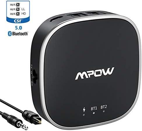 Émetteur Récepteur Bluetooth 5.0 Mpow Transmetteur Bluetooth Adaptateur Audio 2 en 1 sans Fil 18H Autonomie aptX LL, aptX HD, Optique Digital TOSLINK,
