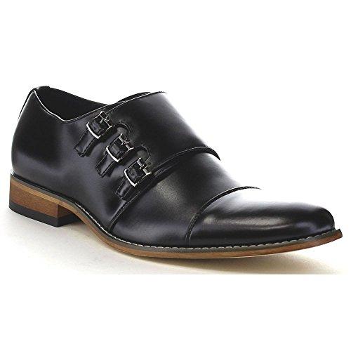 UV SIGNATURE EA27 Men's Chic Cap Toe Monk Strap Dress Shoes Run Half Size Big, Color:BLACK, Size:11