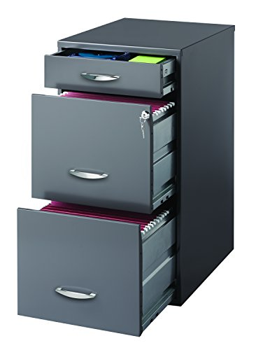 Space Solutions 20205 Archivero Organizador de Tres Gavetas, Color Gris Charcoal, Tamaño Carta