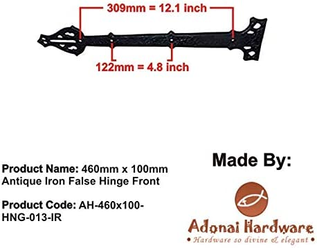 Black Powder Coated Adonai Hardware 8Agee Black Antique Iron False Hinge Front Supplied as 4 Pieces per Pack