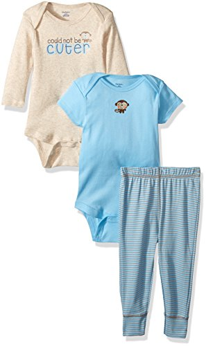 Gerber Baby Boy 3 Piece Long and Short Sleeve Onesies with Pant