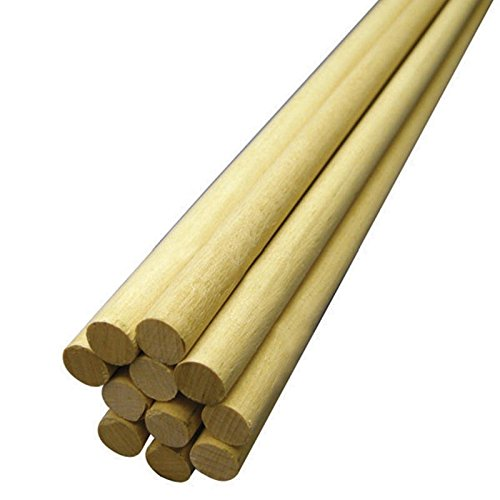 Hygloss Products, Inc 1/2-Inch x 12-Inch, 10-Pack Wooden Dowel Rods,