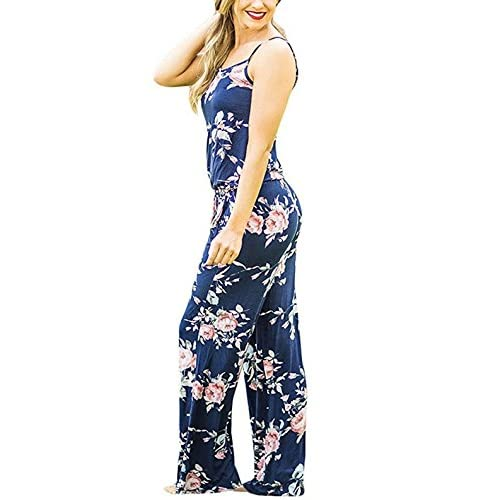 79c38f1d1d3a 60%OFF VOGRYE Floral Printed Jumpsuit Women Halter Sleeveless Wide Long  Pants Jumpsuit Rompers