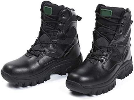軍事戦術ブーツレザーは暖かいハイヘルプレースアップスタイルの登山靴快適なクッション滑り止め耐摩耗ラバーソールをキープ (色 : 黒, サイズ : 26.5 CM)