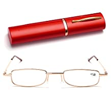 Men Women Small Lightweight Portable Pocket Reading Glasses Reader Presbyopia Glasses with Random Color Pen Shape Storage Case +1.00D