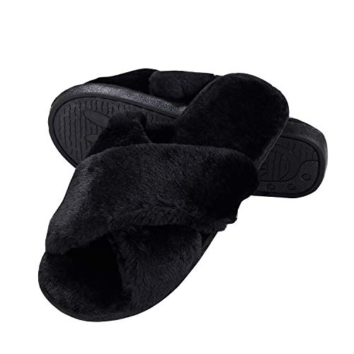 2 Slippers Fussy Black Slippers Home Girls for Fur Slippers Warm Faux Toe Flop Flip Open House 77Fine Womens Men qwUXO