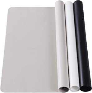 3 Pack Large Silicone Sheets for Crafts, Liquid, Resin Jewelry Casting Molds Mat, Multi-Purpose Food Grade Silicone Placemat. Black & Gray & Beige (15.7 x 11.8 inch)