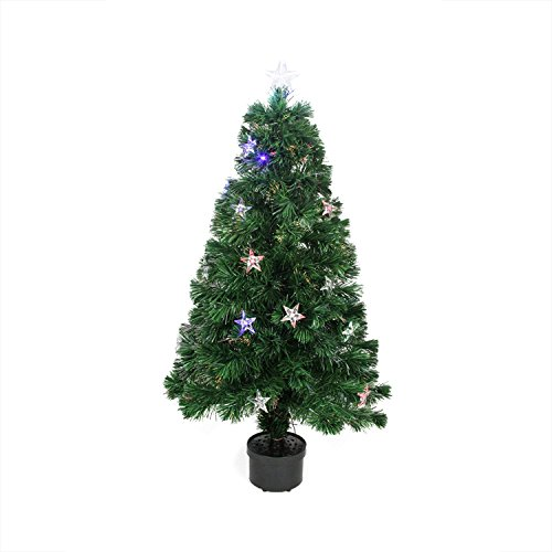 Northlight 4' Pre-Lit LED Color Changing Fiber Optic Artificial Christmas Tree with Stars (Fibre 4ft Tree Optic Christmas)