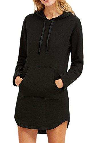 Women 's Classic Long Sleeve Hoodie Corbata Longline Slit Sudaderas Con Bolsillo Black