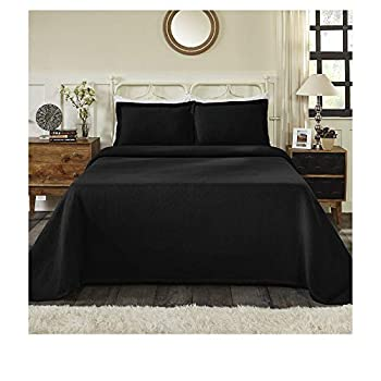Image of 3 Piece Traditional Style Black Matelasse Bedspread Set Classic Solid Color Grained Basket Weave Pattern Design Bedspreads Queen Size Textured Tailored Look Oversized Jacquard Cotton Decor Bedding Set Home and Kitchen