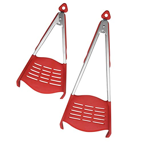 Kitchen Pro 101 Smart Tongs 2-in-1 Spatula Tongs - BBQ and Grill Cooking Gadget - Non-Stick, Heat Resistant, Food Grade Silicone, BPA Free, Dishwasher Safe -As Seen on TV -2 Pack (1 Large and 1 Small) As Seen On Tv Food