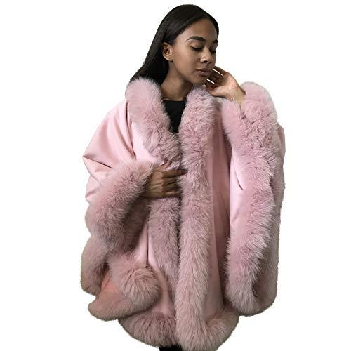 Poncho Cape Coat cashmere fox fur trim ()