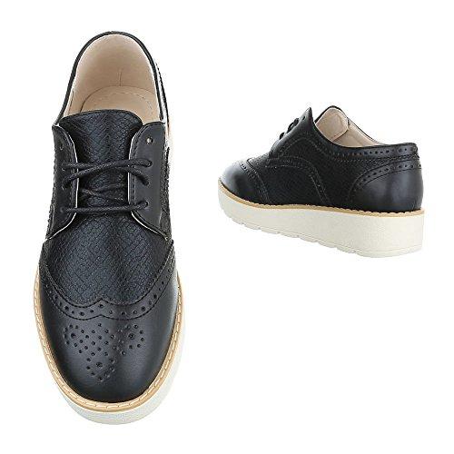 Ital-Design - Zapatos Planos con Cordones Mujer , color azul, talla 40