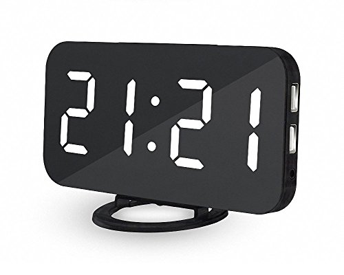 "Deals Week Big Digital Alarm Clock UBMSA 6.5""Large Numbers Alarm Clock, Mirror Led Electric Desk Clock with Adjustable Brightness 2 USB Charging Ports Big Snooze Button for Bedrooms Decor Gift (White) - ✅ Big Sale Prime Deals Week for Alarm Clock ! LARGE DISPLAY - Digital Alarm Clock with Mirror Surface 6.5"" large screen and high-contrast display lets you check the time clearly at a glance even it is far from you. Slim and simple mirror design blends perfectly in your bedroom, living room, office, etc. ✅ AUTO/MANUAL BRIGHTNESS - Bright-Medium-Dim, Digital Clock with 3 levels adjust brightness meet all your needs for day and night. Auto brightness function lets the digital alarm clock adjust the brightness according the environment, protecting your eyes at night and saving energy.The brightness of the screen display can be adjusted only when the Auto Brightness is set off. ✅ HANDY SNOOZE BUTTON - 2-min loud alarm ensures to wake you up in the morning. The big snooze button, which is on top of this digital clock, allows heavy sleepers to gain more time to prepare their body and mind for the morning. Short press the button""+""or""-""to adjust the snooze time from 5 to 60 minutes - clocks, bedroom-decor, bedroom - 41L2jaCpRXL -"