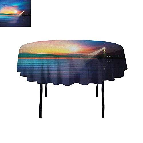 DouglasHill Lighthouse Waterproof Anti-Wrinkle no Pollution Majestic Dreamy Sky and Ocean Stars Rising Sun Beacon Bay Beach Table Cloth D67 Inch Dark Blue Pale Blue Coral