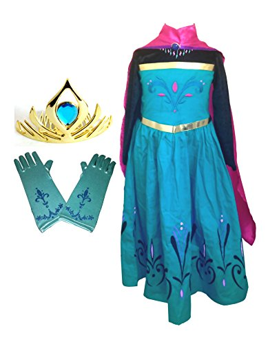 American vogue Elsa Coronation Dress Costume + Cape + Gloves + Tiara Crown (5 Years, Blue) (Elsa Costumes For Girls)