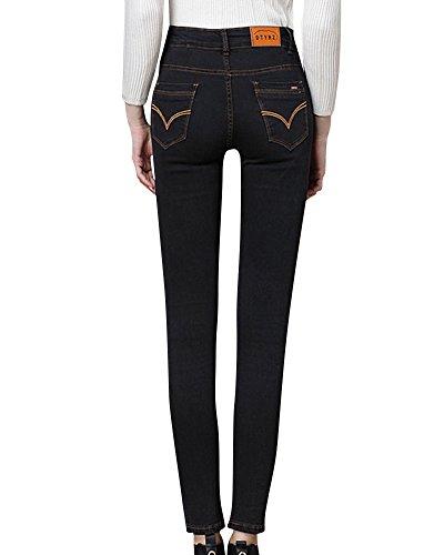 Nero Skinny Jeans Donne Denim Vita Larghi Alta Pantaloni WT11qHw7z