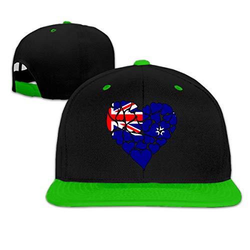 (Australia Flag Heart Love Womens and Mens Hip Hop Flat Brim Baseball Caps, Contrast Color Snapback Cap)