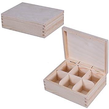 Té Caja para bolsitas té Buzón lata caja de madera madera bolsas de té Caja para guardar 22x16.5x7.5 cm: Amazon.es: Hogar