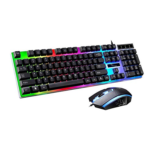 RGB Gaming Keyboard Mouse Combo Wired,Color Changing LED Backlit Computer Gaming Keyboad,Lighted PC Gaming Mouse for…