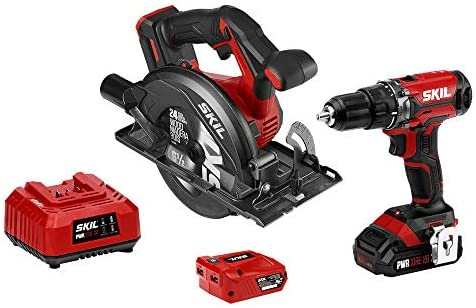SKIL 20V 2-Tool Combo Kit 20V Cordless Drill Driver and Circular Saw, Includes 2.0Ah PWR CORE 20 Lithium Battery, PWRAssist 20 USB Charging Adapter and Charger – CB739301