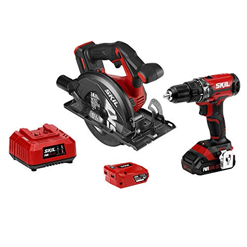 SKIL 20V 2-Tool Combo Kit: 20V Cordless Drill Driver and Circular Saw, Includes 2.0Ah PWR CORE 20 Lithium Battery, PWRAssist 20 USB Charging Adapter and Charger – CB739301