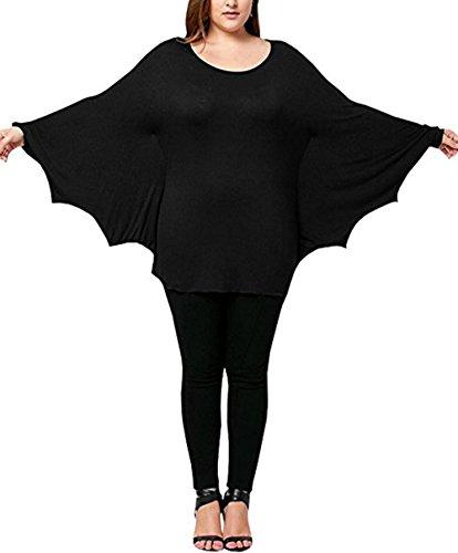 Plus Size Women's Scoop Neck Long Sleeve Halloween Shirts Tops Cozy Bat Costume