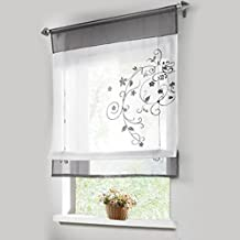 1pcs Sheer Liftable Organza Embroidered Kitchen Curtains Roman Window Shades,Grey,24x47''