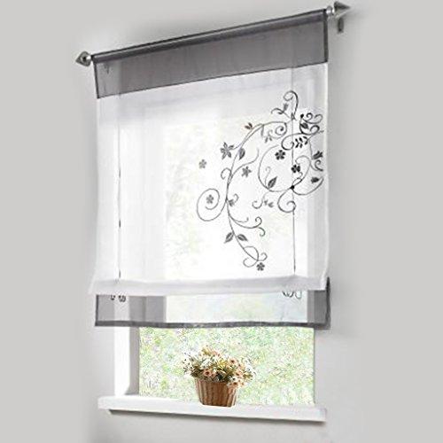 Stickblume Gardine Raffgardinen mit 4 Farben und 4 Groessen Vorhang BxH 80cmx100cm Grau