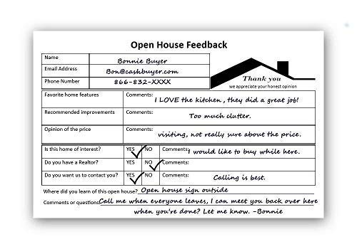 LifeCharge LLC Open House Must Have! Prospecting Tool for Realtors, Agents, Brokers & for Sale by Owner FSBO Supplies. Open House Notepad Sign in Sheet Forms to Collect Buyer Feedback & Contact Info.